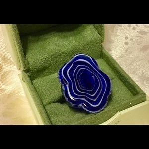 Fun Blue & White Glass Ring